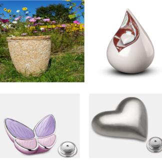 Urnen van diverse materialen